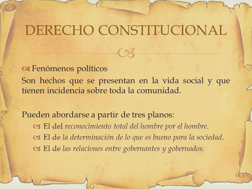 Fenómenos políticos Son hechos que se presentan en la vida social y que tienen incidencia sobre toda la comunidad.