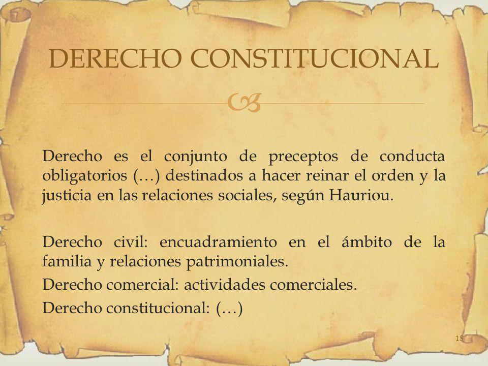 Derecho es el conjunto de preceptos de conducta obligatorios (…) destinados a hacer reinar el orden y la justicia en las relaciones sociales, según Hauriou.
