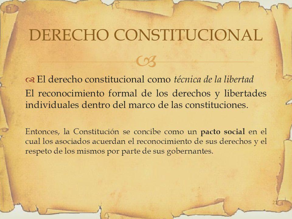 El derecho constitucional como técnica de la libertad El reconocimiento formal de los derechos y libertades individuales dentro del marco de las constituciones.