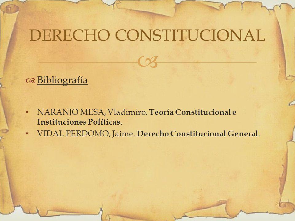 Bibliografía NARANJO MESA, Vladimiro.Teoría Constitucional e Instituciones Políticas.