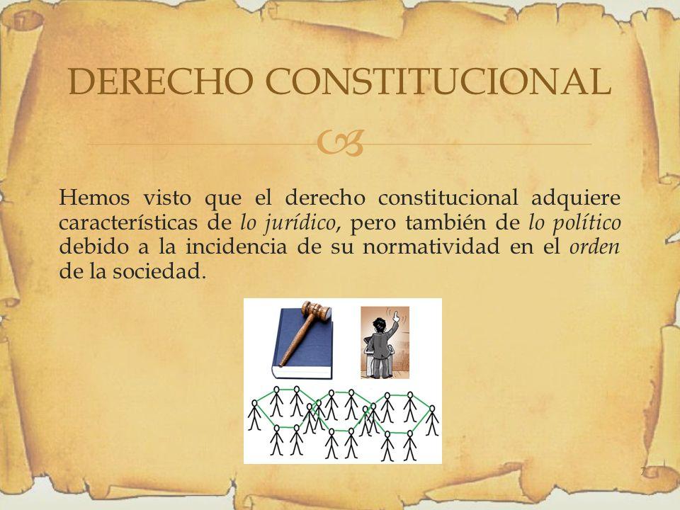 Hemos visto que el derecho constitucional adquiere características de lo jurídico, pero también de lo político debido a la incidencia de su normatividad en el orden de la sociedad.