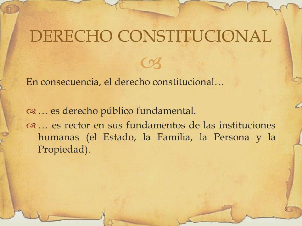 En consecuencia, el derecho constitucional… … es derecho público fundamental.