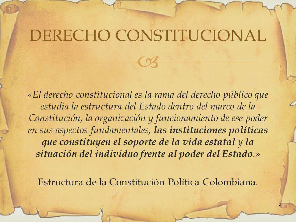 «El derecho constitucional es la rama del derecho público que estudia la estructura del Estado dentro del marco de la Constitución, la organización y funcionamiento de ese poder en sus aspectos fundamentales, las instituciones políticas que constituyen el soporte de la vida estatal y la situación del individuo frente al poder del Estado.» Estructura de la Constitución Política Colombiana.