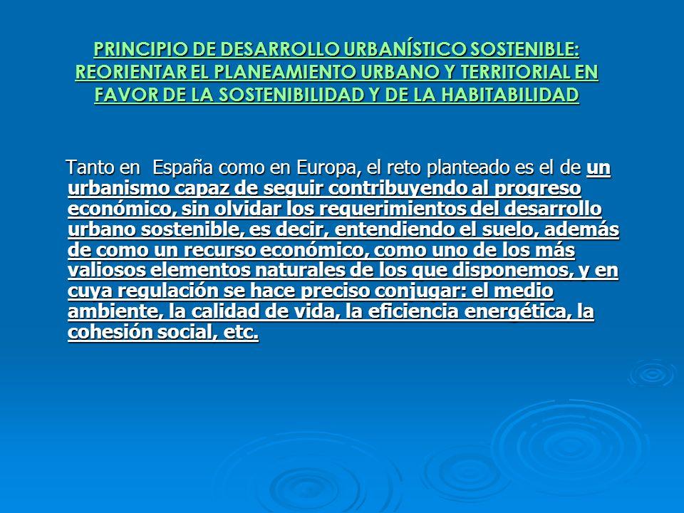PRINCIPIO DE DESARROLLO URBANÍSTICO SOSTENIBLE: REORIENTAR EL PLANEAMIENTO URBANO Y TERRITORIAL EN FAVOR DE LA SOSTENIBILIDAD Y DE LA HABITABILIDAD Ta