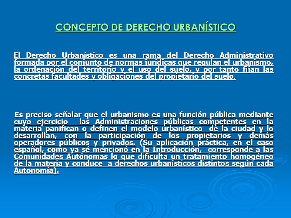 CONCEPTO DE DERECHO URBANÍSTICO El Derecho Urbanístico es una rama del Derecho Administrativo formada por el conjunto de normas jurídicas que regulan