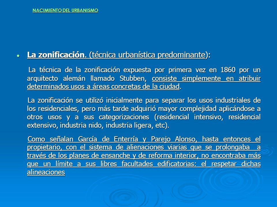 NACIMIENTO DEL URBANISMO La zonificación. (técnica urbanística predominante): La zonificación. (técnica urbanística predominante): La técnica de la zo