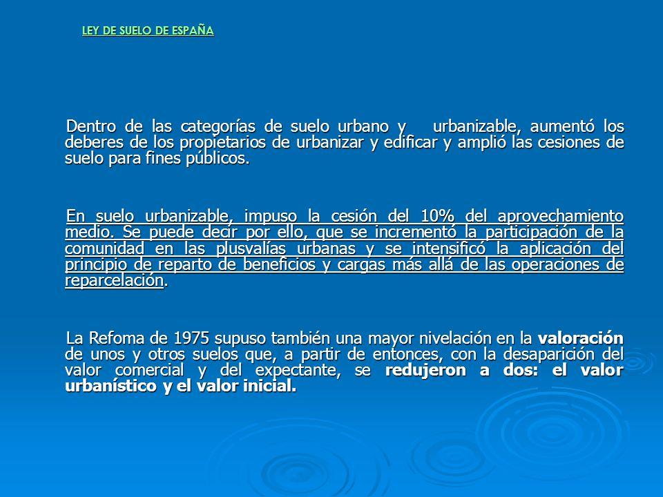 LEY DE SUELO DE ESPAÑA Dentro de las categorías de suelo urbano y urbanizable, aumentó los deberes de los propietarios de urbanizar y edificar y ampli