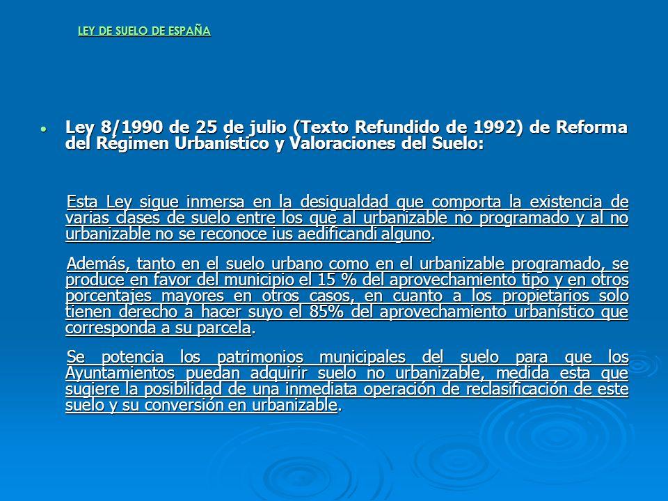 LEY DE SUELO DE ESPAÑA Ley 8/1990 de 25 de julio (Texto Refundido de 1992) de Reforma del Régimen Urbanístico y Valoraciones del Suelo: Ley 8/1990 de