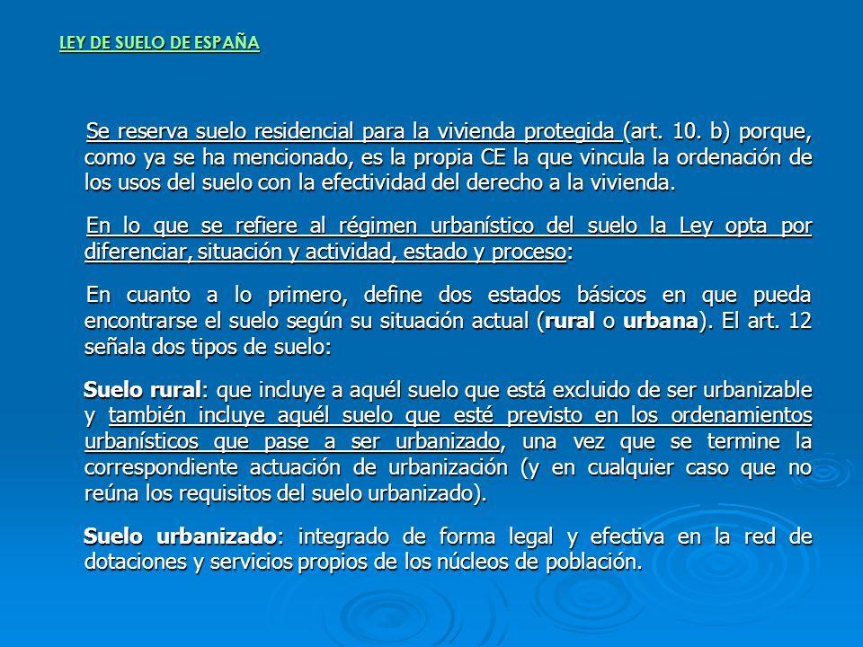 LEY DE SUELO DE ESPAÑA Se reserva suelo residencial para la vivienda protegida (art. 10. b) porque, como ya se ha mencionado, es la propia CE la que v