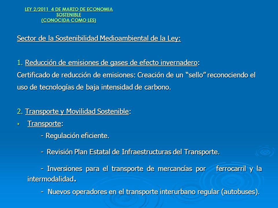 LEY 2/2011 4 DE MARZO DE ECONOMIA SOSTENIBLE (CONOCIDA COMO LES) Sector de la Sostenibilidad Medioambiental de la Ley: 1. Reducción de emisiones de ga