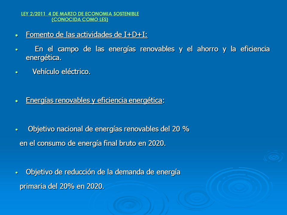 LEY 2/2011 4 DE MARZO DE ECONOMIA SOSTENIBLE (CONOCIDA COMO LES) Fomento de las actividades de I+D+I: Fomento de las actividades de I+D+I: En el campo