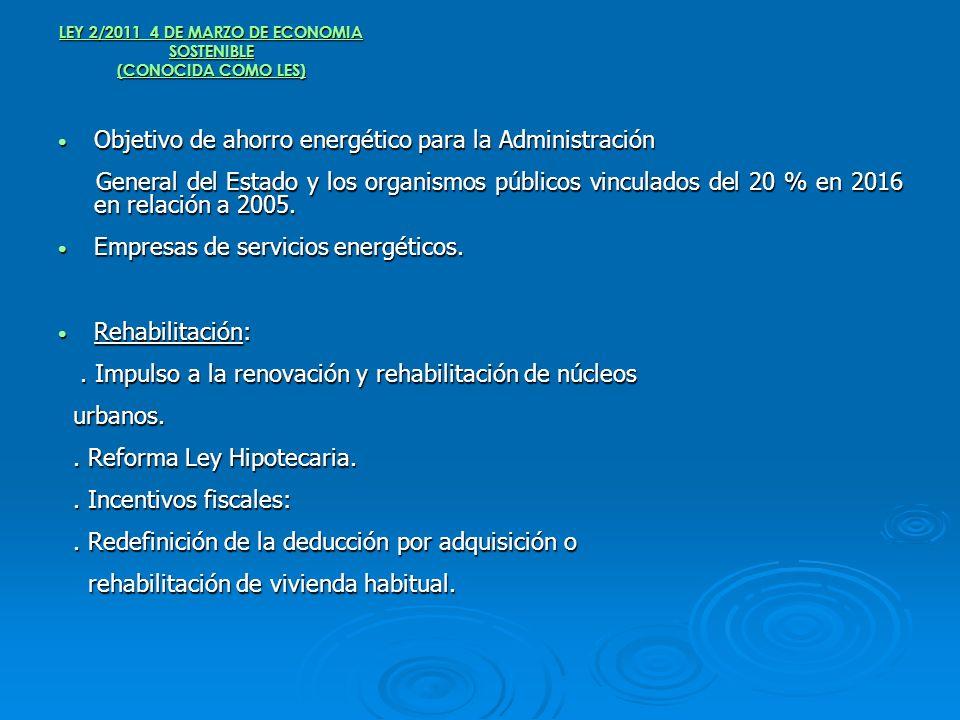 LEY 2/2011 4 DE MARZO DE ECONOMIA SOSTENIBLE (CONOCIDA COMO LES) Objetivo de ahorro energético para la Administración Objetivo de ahorro energético pa