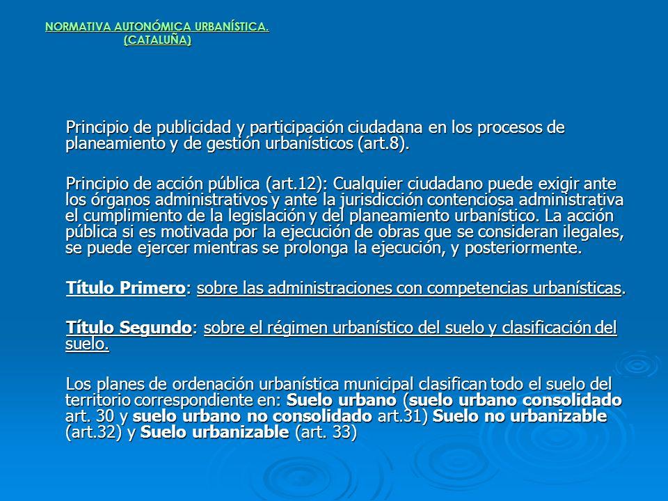 NORMATIVA AUTONÓMICA URBANÍSTICA. (CATALUÑA) Principio de publicidad y participación ciudadana en los procesos de planeamiento y de gestión urbanístic