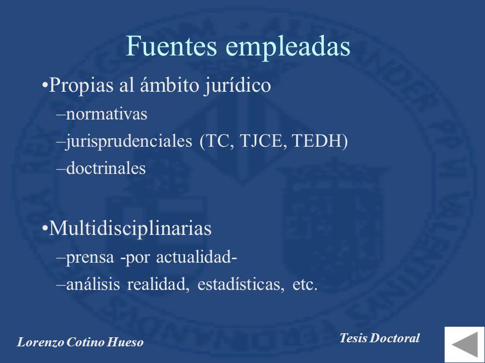 Lorenzo Cotino Hueso Tesis Doctoral Fuentes empleadas Propias al ámbito jurídico –normativas –jurisprudenciales (TC, TJCE, TEDH) –doctrinales Multidisciplinarias –prensa -por actualidad- –análisis realidad, estadísticas, etc.