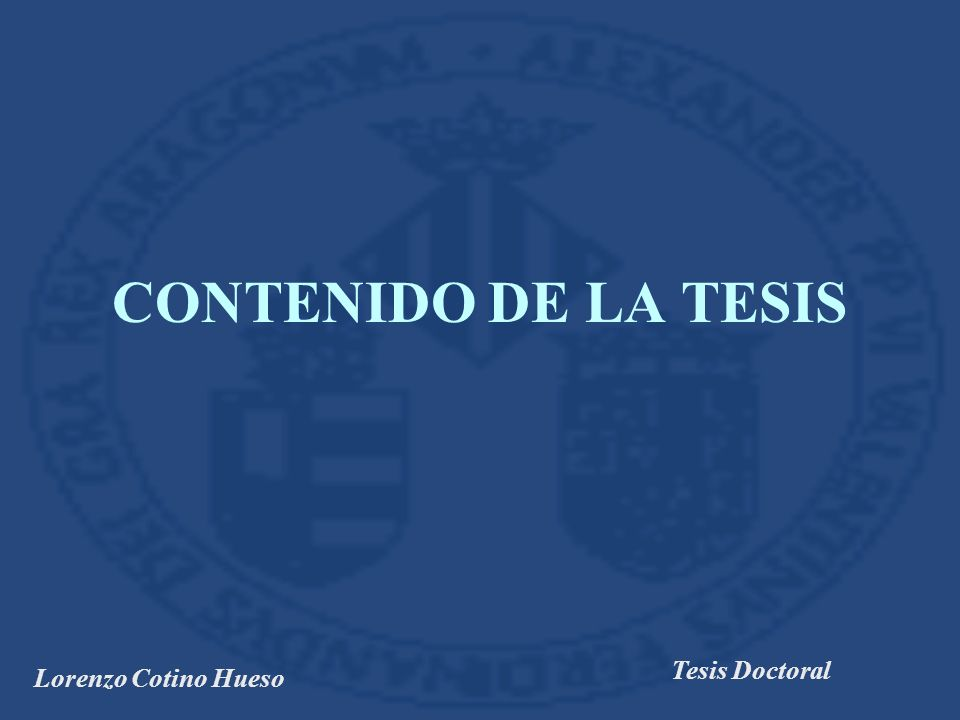 Lorenzo Cotino Hueso Tesis Doctoral CONTENIDO DE LA TESIS