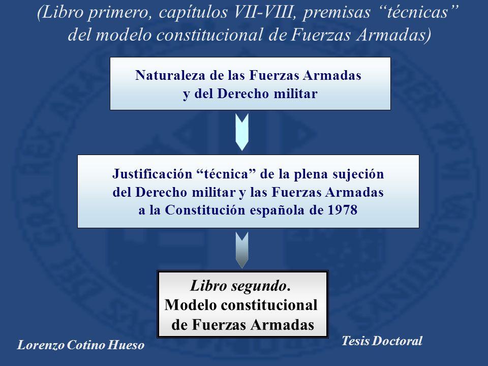 Lorenzo Cotino Hueso Tesis Doctoral (Libro primero, capítulos VII-VIII, premisas técnicas del modelo constitucional de Fuerzas Armadas) Libro segundo.