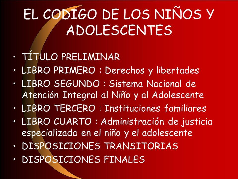 EL CODIGO DE LOS NIÑOS Y ADOLESCENTES TÍTULO PRELIMINAR LIBRO PRIMERO : Derechos y libertades LIBRO SEGUNDO : Sistema Nacional de Atención Integral al