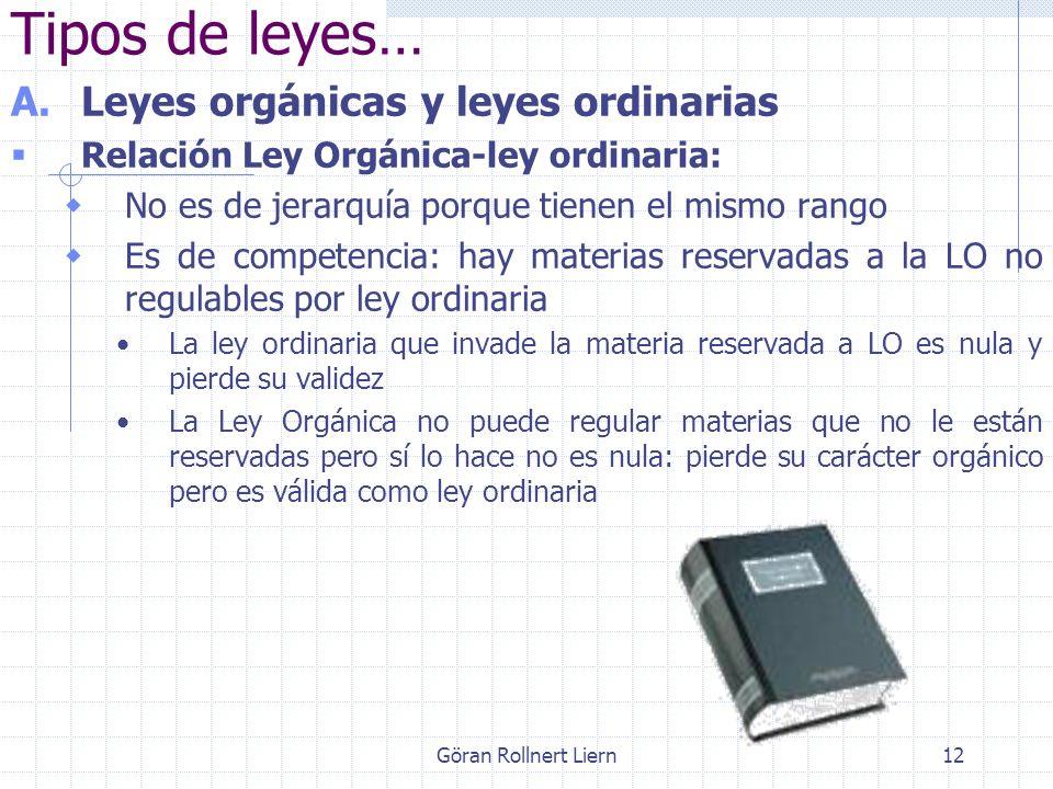 12 Tipos de leyes… A.Leyes orgánicas y leyes ordinarias Relación Ley Orgánica-ley ordinaria: No es de jerarquía porque tienen el mismo rango Es de com