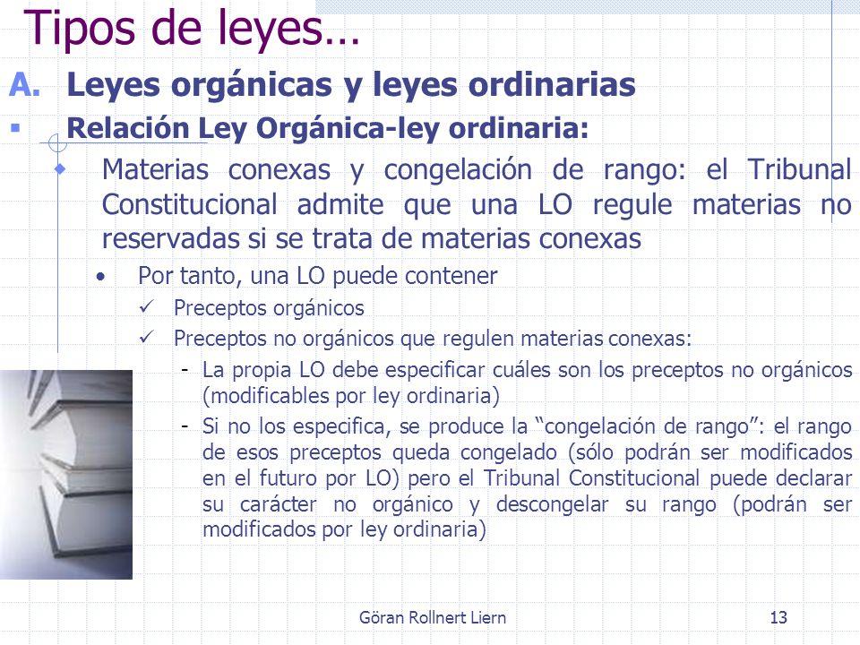 Göran Rollnert Liern13 A.Leyes orgánicas y leyes ordinarias Relación Ley Orgánica-ley ordinaria: Materias conexas y congelación de rango: el Tribunal