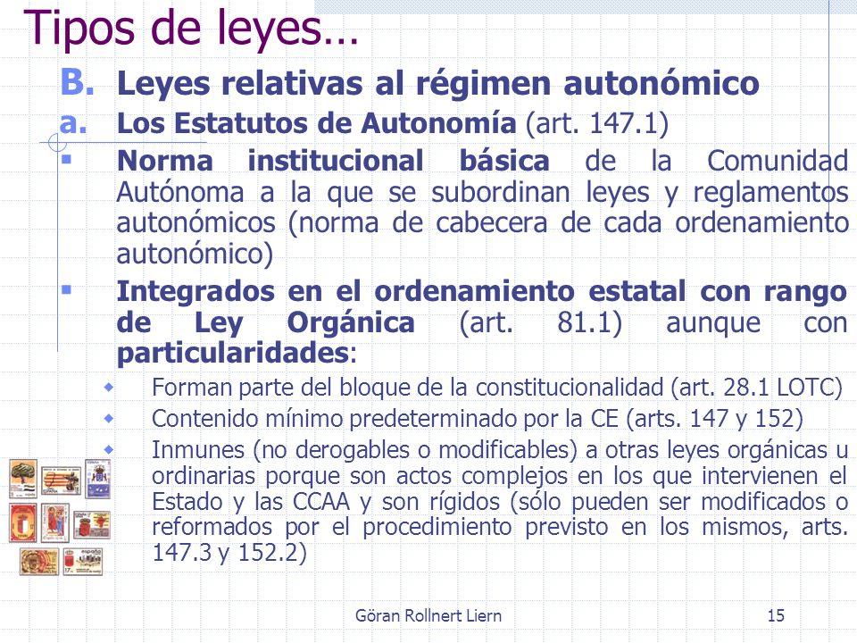 Göran Rollnert Liern15 Tipos de leyes… B. Leyes relativas al régimen autonómico a. Los Estatutos de Autonomía (art. 147.1) Norma institucional básica