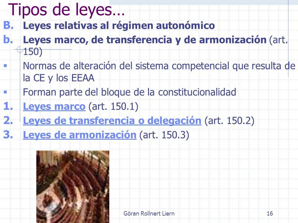 Göran Rollnert Liern16 B. Leyes relativas al régimen autonómico b. Leyes marco, de transferencia y de armonización (art. 150) Normas de alteración del