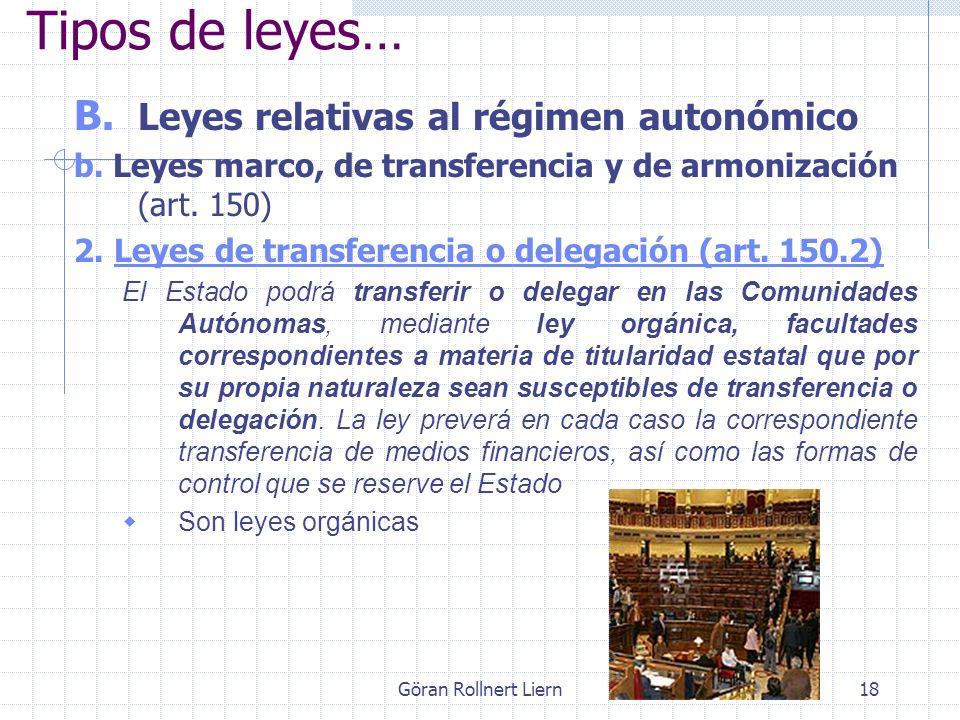 Göran Rollnert Liern18 B. Leyes relativas al régimen autonómico b. Leyes marco, de transferencia y de armonización (art. 150) 2. Leyes de transferenci