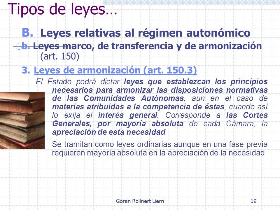 Göran Rollnert Liern19 B. Leyes relativas al régimen autonómico b. Leyes marco, de transferencia y de armonización (art. 150) 3. Leyes de armonización