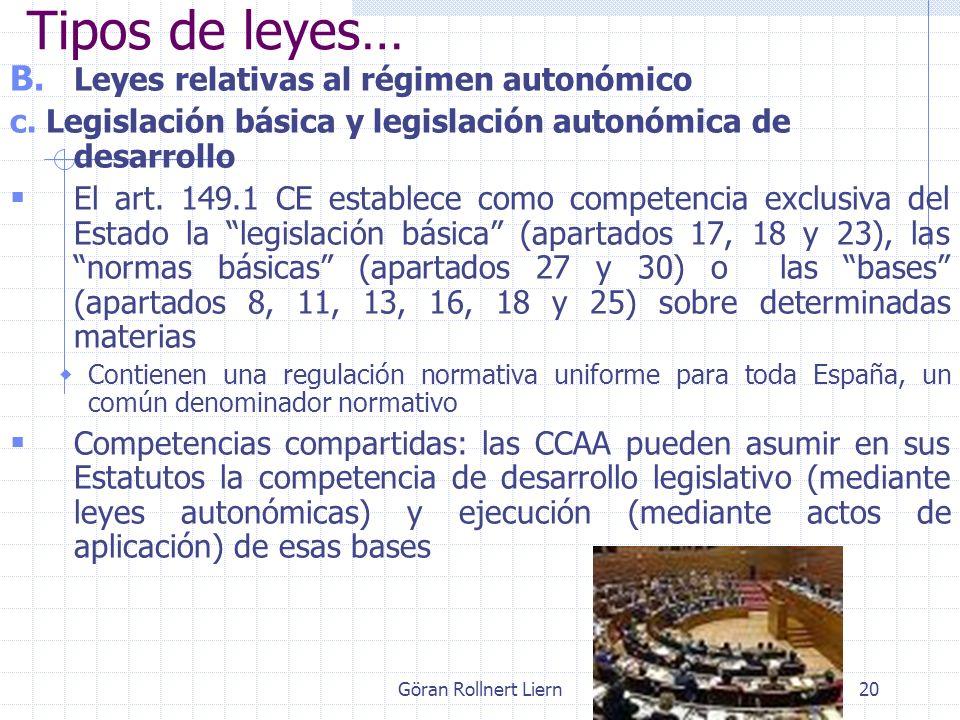 Göran Rollnert Liern20 B. Leyes relativas al régimen autonómico c. Legislación básica y legislación autonómica de desarrollo El art. 149.1 CE establec