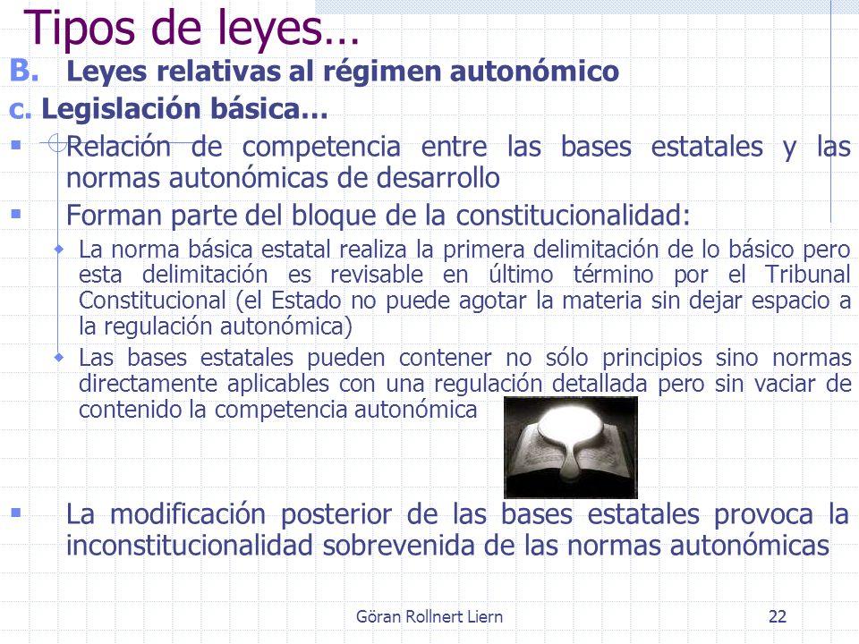Göran Rollnert Liern22 B. Leyes relativas al régimen autonómico c. Legislación básica… Relación de competencia entre las bases estatales y las normas