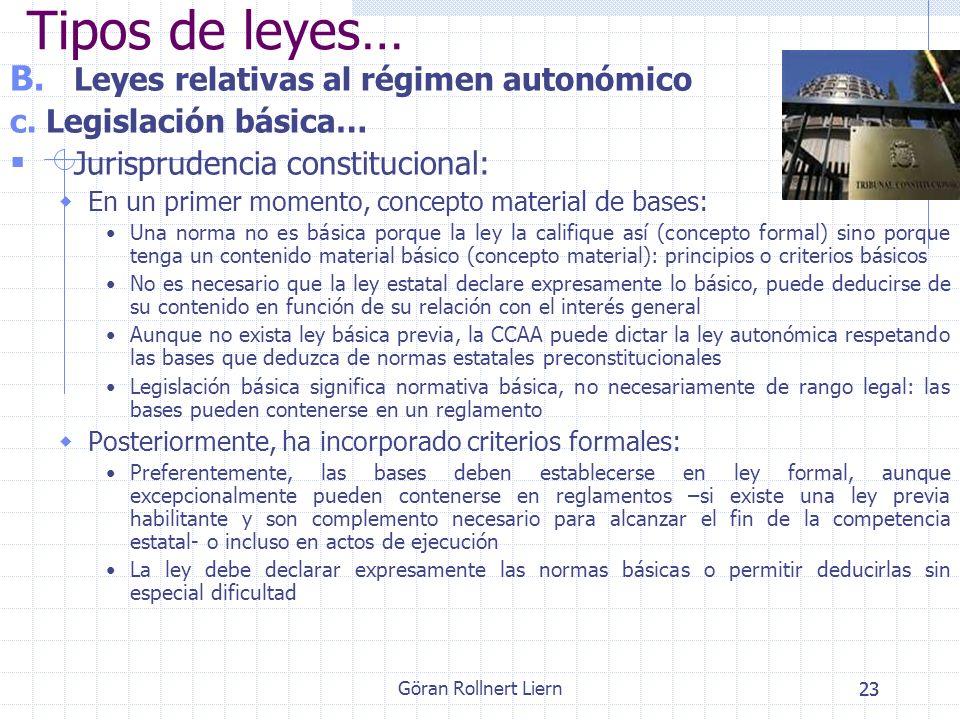 Göran Rollnert Liern23 B. Leyes relativas al régimen autonómico c. Legislación básica… Jurisprudencia constitucional: En un primer momento, concepto m