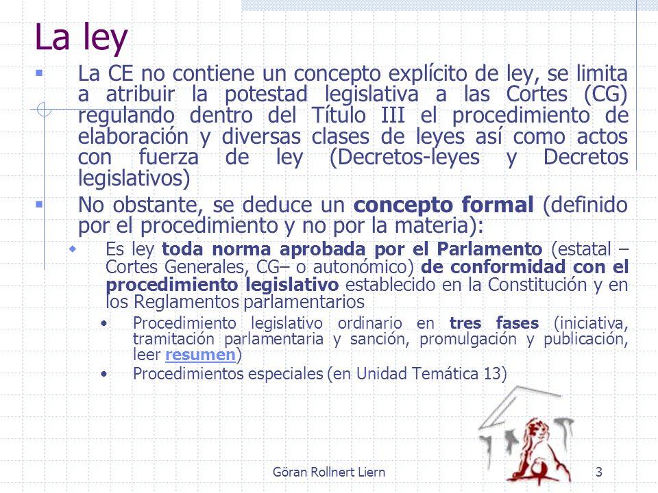 Göran Rollnert Liern3 La ley La CE no contiene un concepto explícito de ley, se limita a atribuir la potestad legislativa a las Cortes (CG) regulando