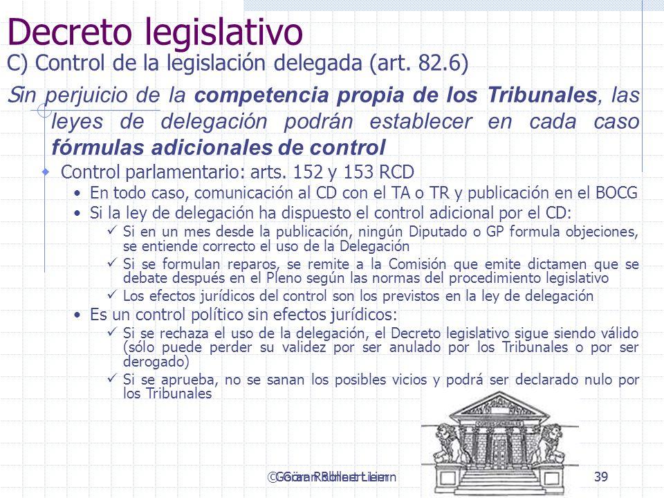 © Göran Rollnert Liern39 Decreto legislativo C) Control de la legislación delegada (art. 82.6) S in perjuicio de la competencia propia de los Tribunal