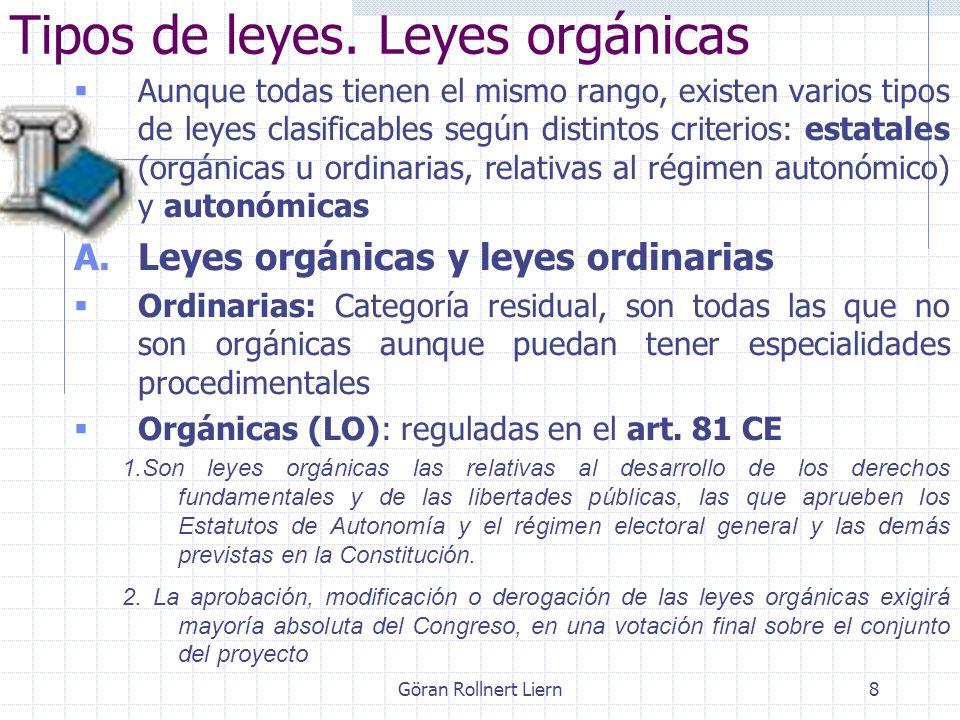 8 Tipos de leyes. Leyes orgánicas Aunque todas tienen el mismo rango, existen varios tipos de leyes clasificables según distintos criterios: estatales