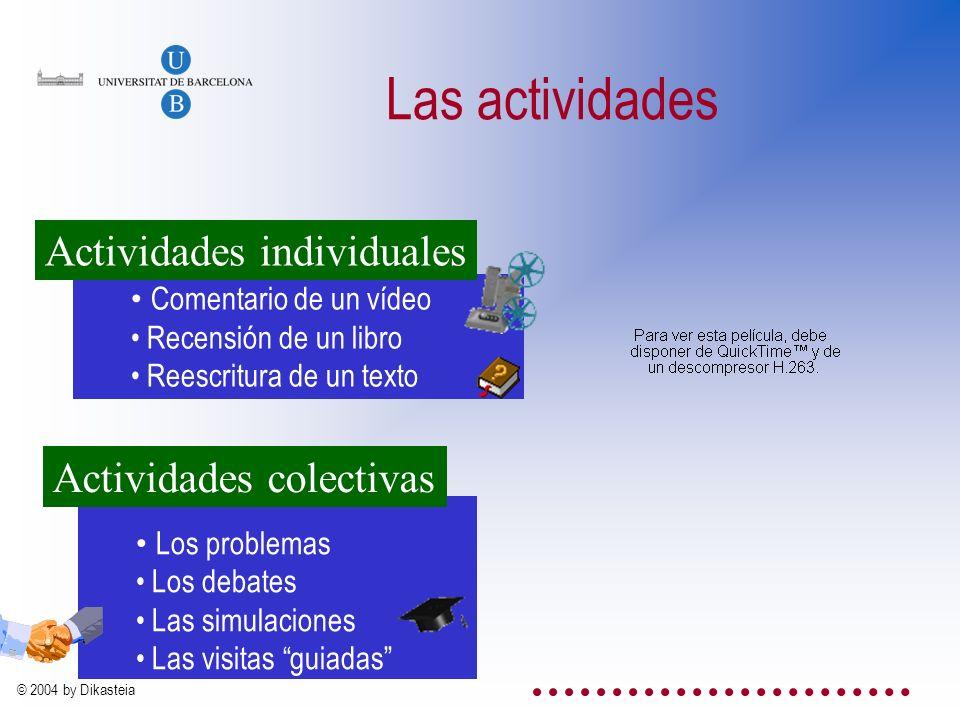 © 2004 by Dikasteia La gestión docente Las sesiones de trabajo Con grupos reducidos Tutorial I (1 sesión de 2 horas, lunes) Tutorial II (1 sesión de 2