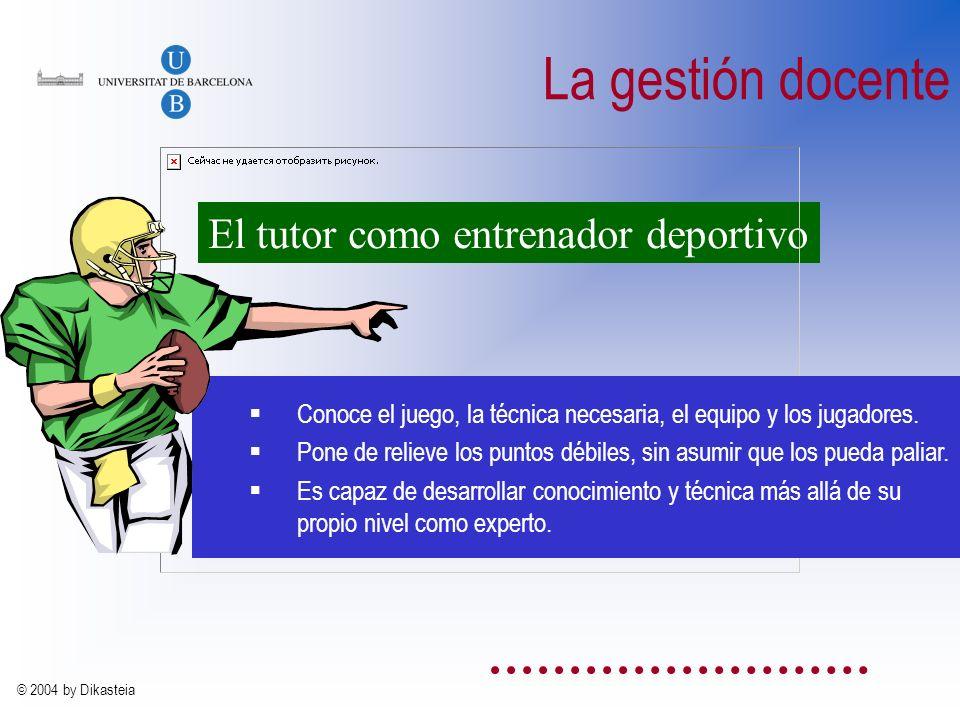 © 2004 by Dikasteia La función del docente es...... facilitar el aprendizaje Debe tener conocimientos sobre el contenido y sobre los objetivos del cur