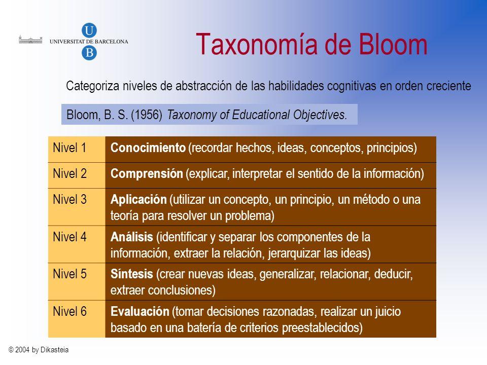 © 2004 by Dikasteia Taxonomía de Bloom Bloom, B.S.