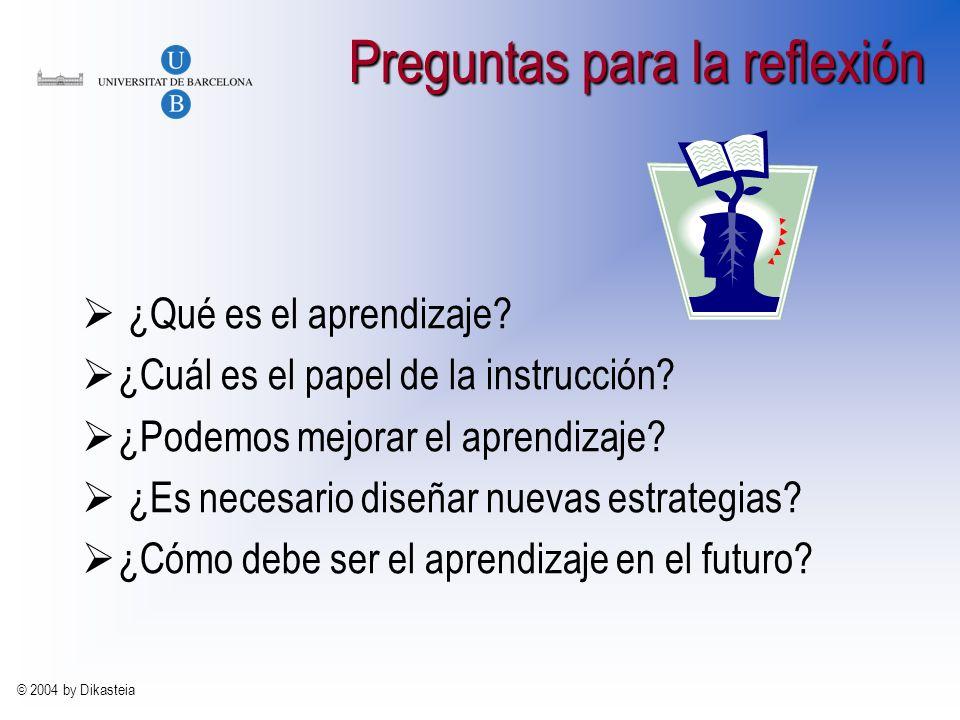 © 2004 by Dikasteia Preguntas para la reflexión ¿Qué es el aprendizaje.