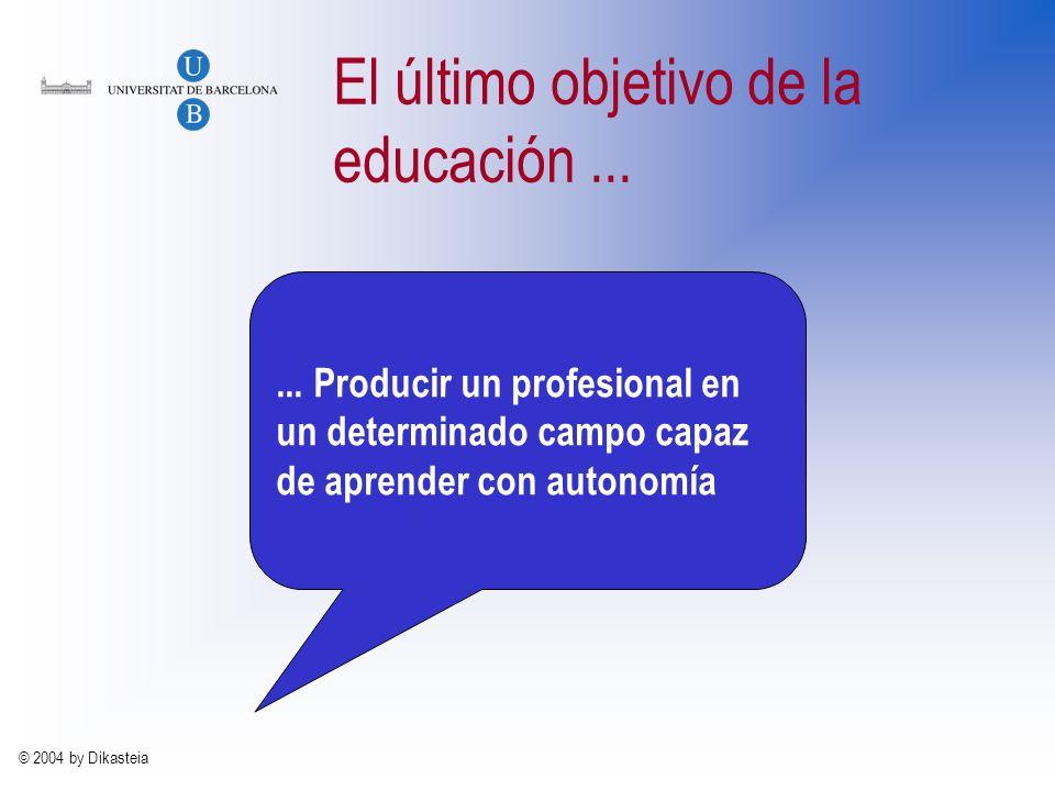 © 2004 by Dikasteia El último objetivo de la enseñanza... La principal tarea del docente consiste en crear un entorno en el que el aprendizaje resulte