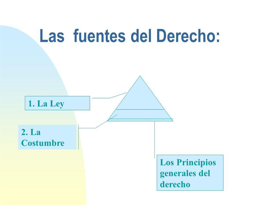 Las fuentes del Derecho: 1. La Ley 2. La Costumbre Los Principios generales del derecho