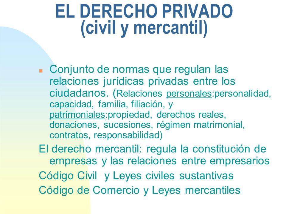 EL DERECHO PRIVADO (civil y mercantil) n Conjunto de normas que regulan las relaciones jurídicas privadas entre los ciudadanos.