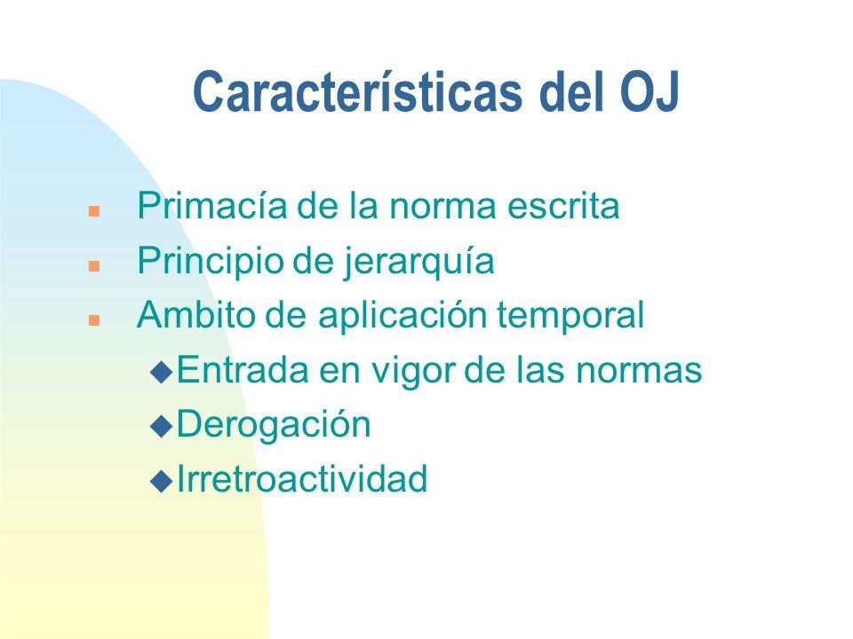 Características del OJ n Primacía de la norma escrita n Principio de jerarquía n Ambito de aplicación temporal u Entrada en vigor de las normas u Derogación u Irretroactividad