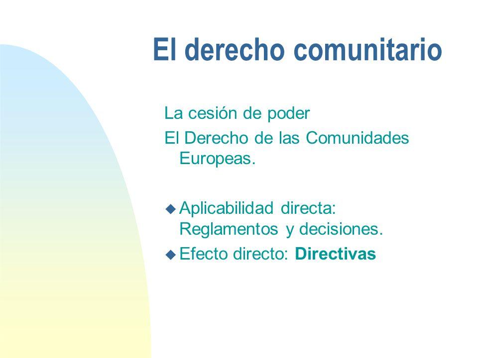 El derecho comunitario La cesión de poder El Derecho de las Comunidades Europeas.