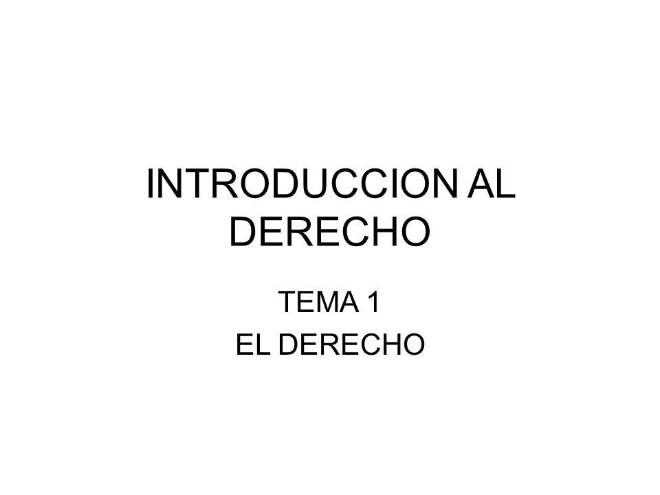 INTRODUCCION AL DERECHO TEMA 1 EL DERECHO