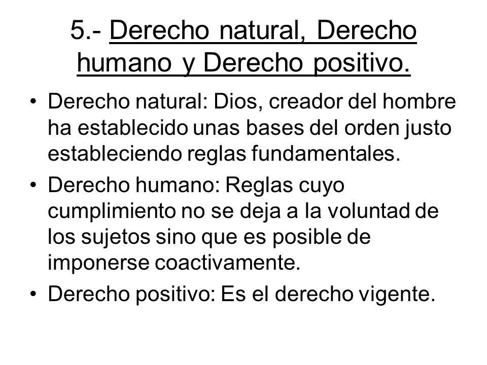 5.- Derecho natural, Derecho humano y Derecho positivo. Derecho natural: Dios, creador del hombre ha establecido unas bases del orden justo establecie
