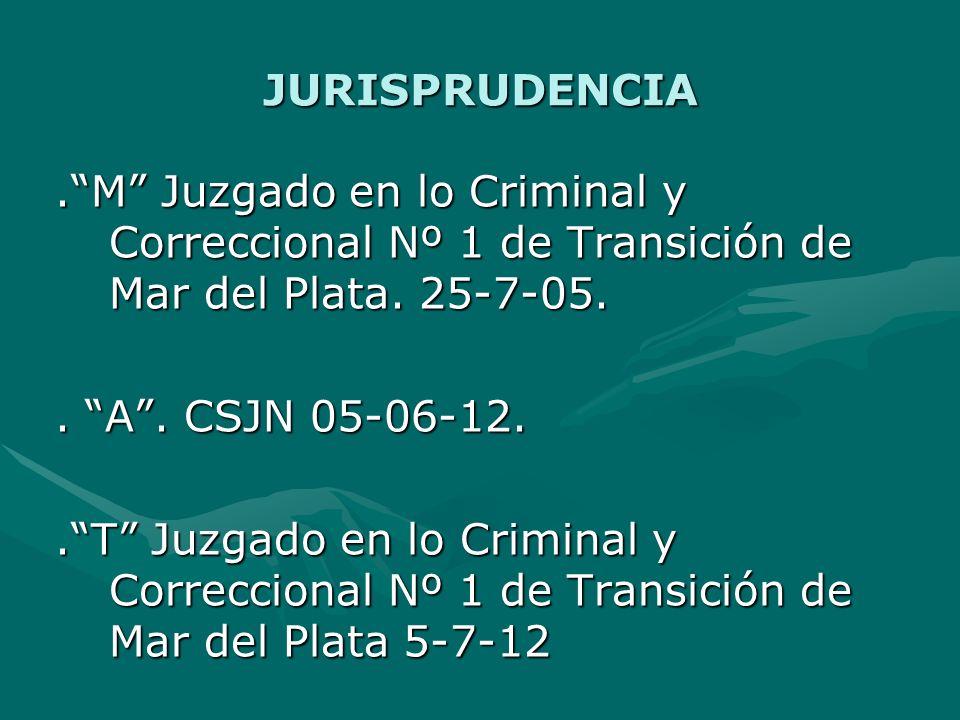 JURISPRUDENCIA.M Juzgado en lo Criminal y Correccional Nº 1 de Transición de Mar del Plata.