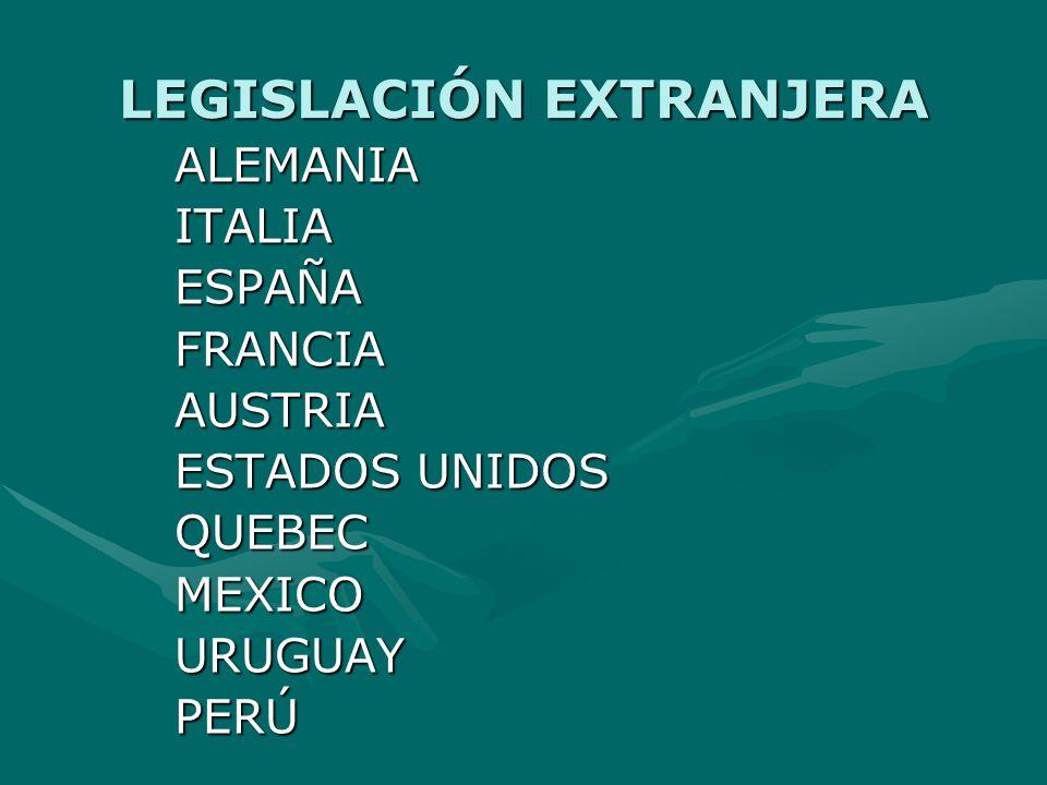 LEGISLACIÓN EXTRANJERA ALEMANIAITALIAESPAÑAFRANCIAAUSTRIA ESTADOS UNIDOS QUEBECMEXICOURUGUAYPERÚ