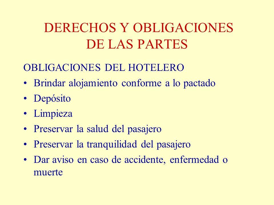 DERECHOS Y OBLIGACIONES DE LAS PARTES OBLIGACIONES DEL HOTELERO Brindar alojamiento conforme a lo pactado Depósito Limpieza Preservar la salud del pas