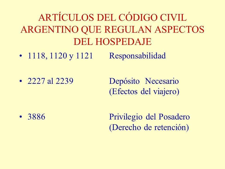 ARTÍCULOS DEL CÓDIGO CIVIL ARGENTINO QUE REGULAN ASPECTOS DEL HOSPEDAJE 1118, 1120 y 1121Responsabilidad 2227 al 2239Depósito Necesario (Efectos del v