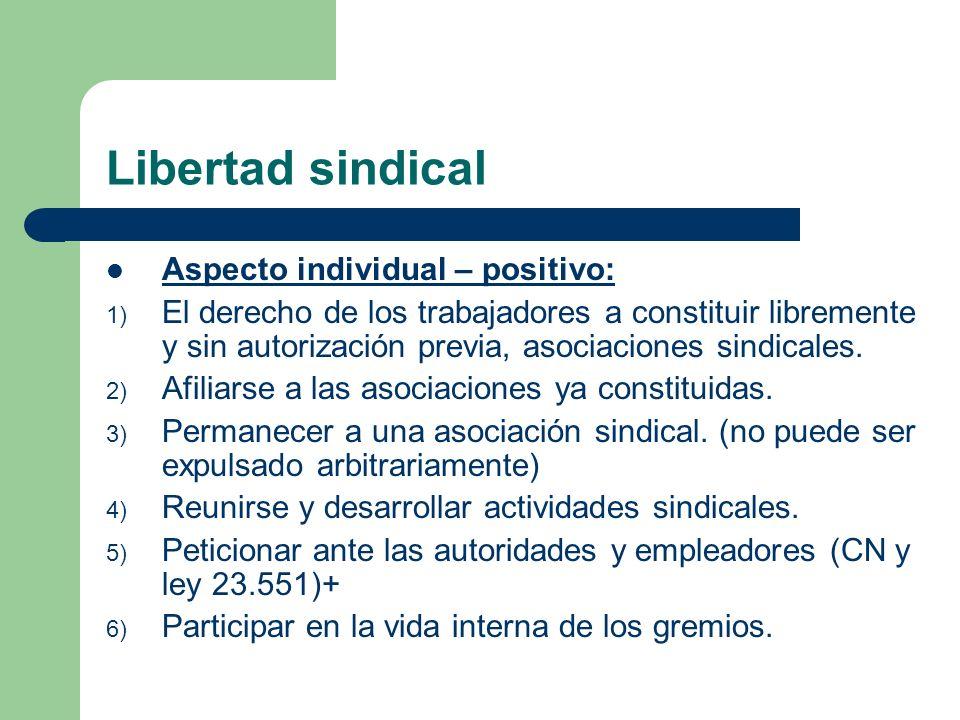 Libertad sindical Aspecto individual – positivo: 1) El derecho de los trabajadores a constituir libremente y sin autorización previa, asociaciones sindicales.