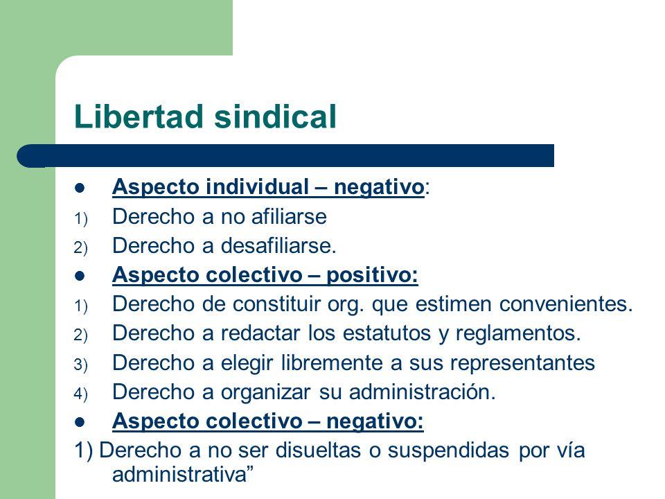 Libertad sindical Aspecto individual – negativo: 1) Derecho a no afiliarse 2) Derecho a desafiliarse.